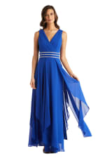 Long Sleeveless Neck Matte Chiffon Dress - Petite - Cobalt - Front