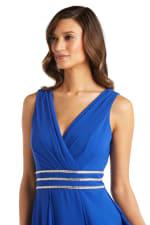 Long Sleeveless Neck Matte Chiffon Dress - Petite - 3