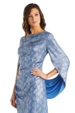Print Foil Knit Drape Back Dress - Petite - 6
