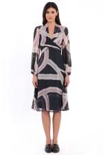Chloe Crisscross Tie Back Blouson Midi Dress - 1