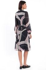 Chloe Crisscross Tie Back Blouson Midi Dress - 2