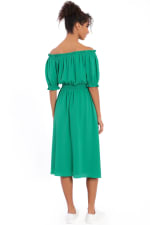 Alexis Off the Shoulder Puff Sleeve Midi Dress - Green - Back