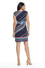Courtney Cap Sleeve Stripe Border Print Sheath Dress - Petite - 2