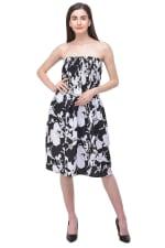 Black Midi Beach Cover Up Strapless Tube Dress - Black - Front