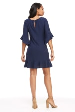 Debbie Pleated Neck Bell Sleeve Flounce Hem Dress - Petite - 2