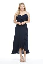 Lara Cold Shoulder Ruffle Detail  Maxi Dress - Petite - Navy - Front