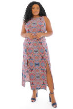 Gabriella Slits Tile Print Tank Maxi Dress - Plus - 3