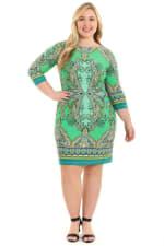 Anita Paisley 3/4 Sleeve Shift Dress - Plus - 3