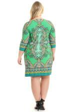 Anita Paisley 3/4 Sleeve Shift Dress - Plus - 2