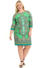 Anita Paisley 3/4 Sleeve Shift Dress - Plus - Green - Front