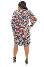 Victoria Puff Sleeve Smocked Cuff Feather Floral Sheath Dress - Plus - 2