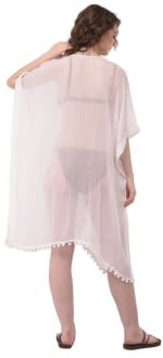 Summer Cover-Up Swimsuit Beach Dress - White - Back