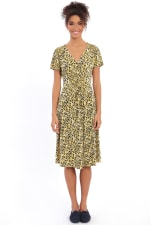 Rachel V-Neck Short Sleeve Midi with Smocked Detail at Waist and Shoulders Dress - Petite - 1