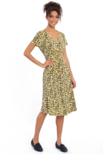 Rachel V-Neck Short Sleeve Midi with Smocked Detail at Waist and Shoulders Dress - Petite - 3