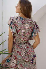 Carmen Wrap Maxi Dress - Beige Floral - Back