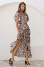 Carmen Wrap Maxi Dress - Beige Floral - Front