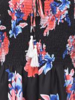 Floral Strapless Black Beach Cover Up Tube Dress - 3