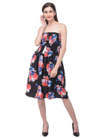 Floral Strapless Black Beach Cover Up Tube Dress - Black - Front
