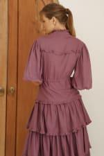Wild West Ruffle Midi Dress - Plum - Back