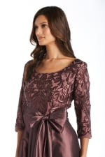 High-Low Dress With Lace And Sequin Top And Satin-Finish Voluminous Skirt - Petite - 3