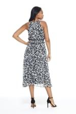 Lexi Floral Smock Waist Halter Midi Dress - Petite - Black / White - Back
