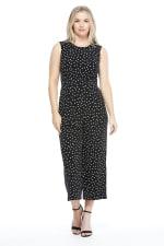 Olivia Happy Dot Inset Waist Jumpsuit - Black / White - Front