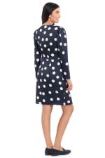 Samantha Charmeuse Dot Print Gathered Long Sleeve Sheath Dress - 2