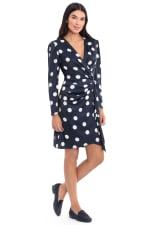 Samantha Charmeuse Dot Print Gathered Long Sleeve Sheath Dress - 3