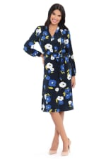 Charlotte Floral Waist Tie Long Sleeve Jersey Fit and Flare Dress - 3