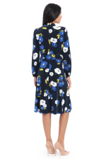 Charlotte Floral Waist Tie Long Sleeve Jersey Fit and Flare Dress - Navy Lapis - Back