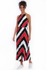 Hallie Blouson Halter Front Slit Maxi Dress - 1
