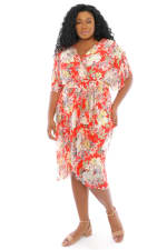 Christina Floral Smock Waist Wrap Midi Dress - Plus - 5