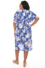 Christina Floral Smock Waist Wrap Midi Dress - Plus - Blue / Multi - Back