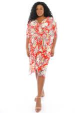 Christina Floral Smock Waist Wrap Midi Dress - Plus - 4