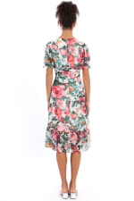 Lori Floral Puff Sleeve Empire Flounce Midi Dress - Petite - Beige / Pink - Back