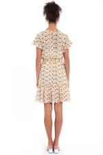 Audrey Drop Shoulder Jewel Neck Elastic Waist Ruffle Dress - Ivory / Gold - Back