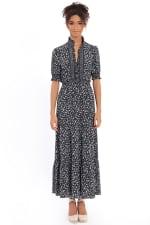 Dana Smocked Puff Sleeve Ruffle Neck Tiered Midi Dress - 1