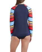 Nautica Stripe Swimsuit Rash Guard - Multi - Back