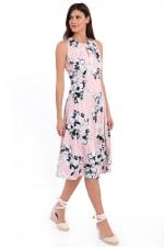 Lauren Floral Pleat Neck Midi Dress - 3