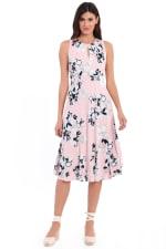 Lauren Floral Pleat Neck Midi Dress - Blush / Ivory - Front