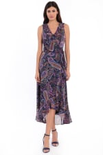 Mariah Paisley Print Ruffle Maxi Dress - Navy / Multi - Front