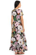 Cassie Floral Side Flounce Tie Sash T-shirt Maxi Dress - 2