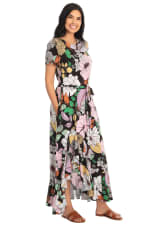 Cassie Floral Side Flounce Tie Sash T-shirt Maxi Dress - 3