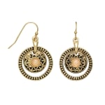Museum Collection Gold Bali Round Drop with Opal Stone - Gold - Front