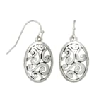 Museum Collection Silver Oval Bali Swirl Drop Earrings - Silver - Front