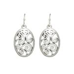 Museum Collection Silver Oval Bali Swirl Drop Earrings - Silver - Back