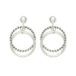 Museum Collection Silver Rope Twist Circle Post Drop Earrings - 2