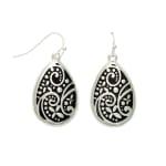 Museum Collection Silver Teardrop Bali Swirl Drop Earrings - 1