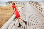 Catalina Grace Jewel Pleated Neck Midi Dress - 2
