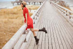 Catalina Grace Jewel Pleated Neck Midi Dress - 3